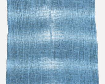 Stitched linen indigo shibori runner
