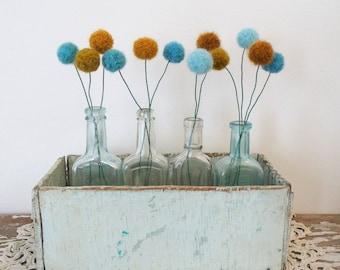 Turquoise, Mustard Pom Pom Flowers.  Felt Ball Flowers.  Modern Arrangement.  Faux Craspedia, Billy Balls.  Yarn Pompom, Robins Egg Bouquet.