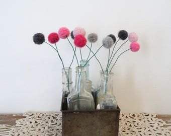 Pom Pom Flowers - Pink and Grey, Gray Floral Arrangement - Felt Ball Flowers - Round Modern Flowers - Small Vase Filler - Pink Faux Flowers
