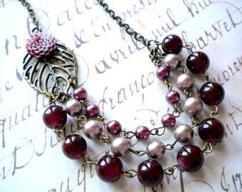 Burgundy Necklace Bib Necklace Burgundy Jewelry Statement Flower Necklace Maroon Necklace Leaf Necklace Three Strand Necklace Gift for Her