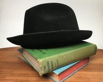 Resistol Black Wool Trilby Hat - size 7 1/8