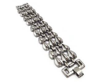 Vintage Silver Pot Metal Modernist Tear Drop Wide Bracelet - Silver Bracelet, Vintage Bracelet, Statement Jewelry