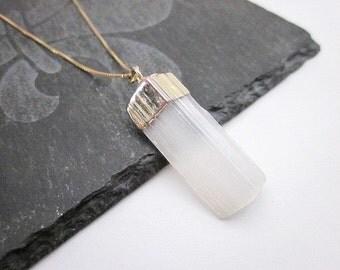 Selenite Necklace -- White Gemstone Necklace -- White Healing Necklace -- Gold & White Gem Necklace -- Crown Chakra Necklace