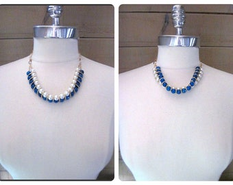 Blue Agate Bead Necklace -- Blue & White Bead Necklace -- Agate and Pearl Necklace -- Blue White Gold Necklace -- Agate Statement Necklace