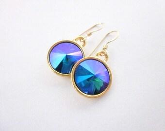 Purple Blue Green Dangles -- Blue Purple Gold Earrings -- Blue Purple Swarovski Earrings -- Emerald Blue Earrings -- Glacier Earrings --