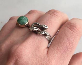 Vintage Sterling Silver Snake Love Knot Ring