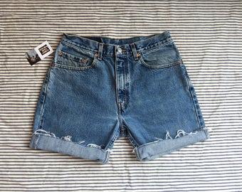 "30"" Waist / Denim Cut Offs / Red Tab Levi's Denim Shorts / High Waisted Denim Hot Pants / Festival Hipster / Jean Shorts / Coachella"