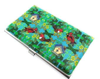 Unique Colorful Polymer Clay Business Card  Case, Bird Garden