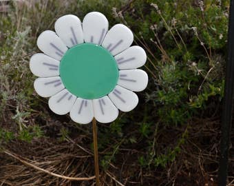 Fused Glass Teal Green Garden Stake Plant Stake Gardeners Gift New Homeowners Gift Housewarming Gift