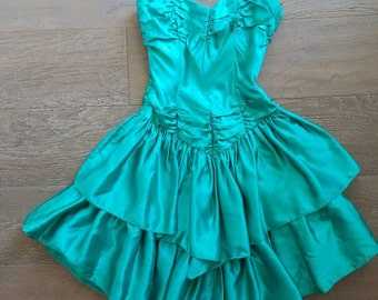 Vintage 80s EMERALD Teal Green Ruffle Dress (xs)