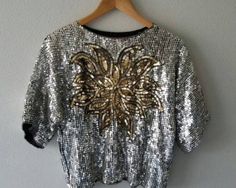 DISCO Sequin Vintage SLOUCHY Silver Gold Top (s-m)