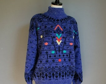 30% off// Vintage PURPLE Slouchy High Neck JUMPER Sweater (m)