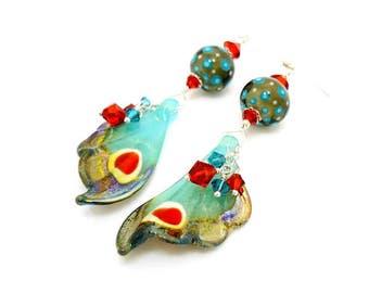 Butterfly Wing Earrings, Butterfly Earrings, Butterfly Jewelry, Lampwork Earirngs, Gold Dangle Earirngs, Wing Earrings, Nature Jewelry