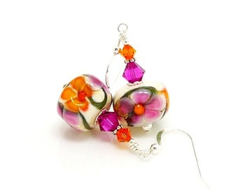 Pink Orange Floral Earrings, Lampwork Earrings, Glass Bead Earrings, Glass Earrings, Dangle Earrings, Beadwork Earring, Lampwork Jewelry