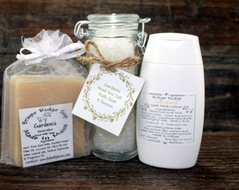 Gardenia Scented Gift Set, Spa Set,CoWorker Gift, Teacher Gift,  Soap,Lotion & Bath Soak Set,Skin Care Handcrafted Gift Package  Mothers Day