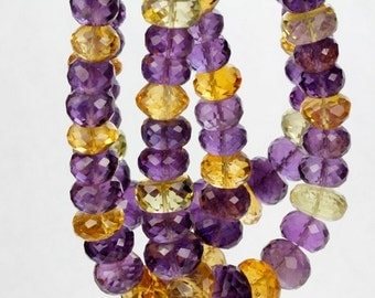 "ON SALE Amethyst Rondelles Beads Citrine Lemon Quartz Faceted Mixed Stone Strand - 7"" Strand - 5 to 10mm"