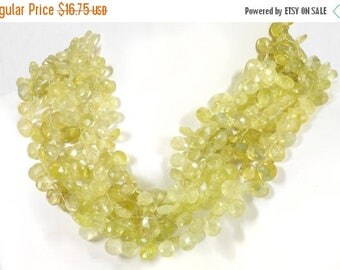 ON SALE Chrysoberyl Beads Faceted Pear Briolettes Shaded Lime Green Mined Gemstone - Sells by the Inch - 1 Inch is 9 Beads - 6x5 to 7x6mm
