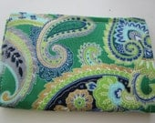 Paisley Print Credit Card Wallet, Green and Gold Paisley Print Wallet, Business Card Holder, Vera Bradley inspired, Gift Card Holder wallet