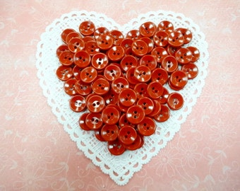 """Vintage Red Casein Plastic Sewing Buttons lot (100) Each Round Two Hole Sew Through 1/2"""" Inch Size"""