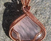 Sweetheart///Translucent Rose Quartz, and Copper, Wire Wrap Pendant, One of a Kind, Handmade, Art