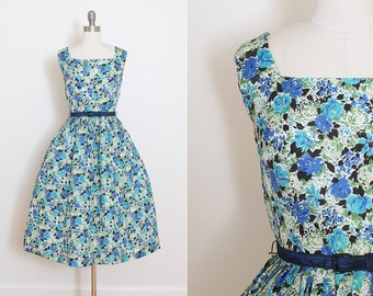 Vintage 50s Dress | vintage 1950s dress | purple floral party dress xs/s | 5793