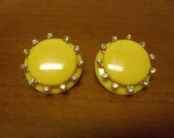 Vintage 1960's  Yellow Lucite & Rhinestone Earrings