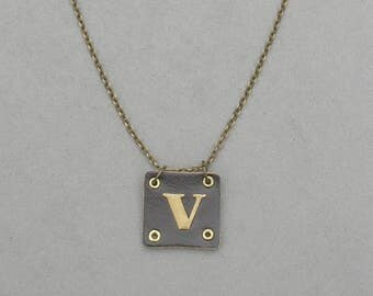 Square Leather V Necklace