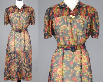 1940s Dress, Vintage 40s Dress, Sheer Floral Swing Dress, Medium