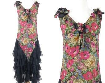 1920's Floral Lamé Dress, Flapper Dress, Art Deco Dress, Roaring 20s Dress, Tiered Silk Dress, Gatsby Dress