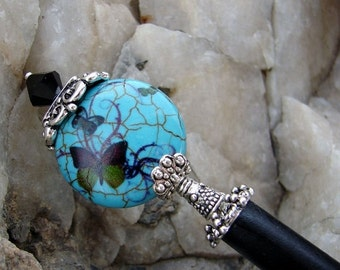 Pre Christmas Sales Event Turquoise Blue Japanese Hair Stick Teal Stone with Butterfly Geisha Oriental Hairsticks Kanzashi Hair Pins Hair Ch