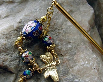 Blue Cloisonne Hair Stick with Gold Dragonfly Charm Hair Chopstick Oriental Hair Accessory Dark Blue Hair Pick - Asha