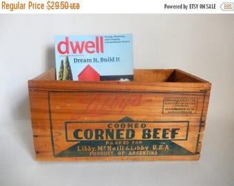 Antique Libby's Cooked Corned Beef Wooden Delivery Crate