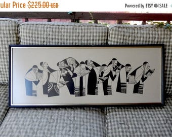 "Vintage 1970's Art Print Illustration Procession of Jewish Rabbis by Artist Al Jacobs in Frame Under Glass - 39"" x 16"" - Religious Judaism"