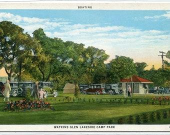 Lakeside Camp Park Watkins Glen New York 1930s postcard