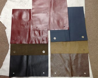 MS525A. Package of 7 Leather Cowhide Remnants