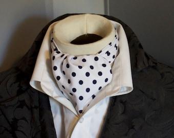 White with Navy Polka Dot - Pure Cotton - DAY Cravat Victorian Ascot Tie Cravat