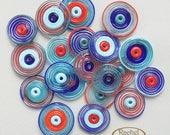 Lampwork Glass Disc Beads, FREE SHIPPING, Handmade Cobalt, Sky Blue, Turquoise and Orange Spiral Disc Beads - Rachelcartglass