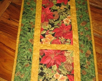 """Quilted Christmas Table Runner, Red Poinsettias and Cream Flowers, Quilted Table Runner, Reverisble Fall 13 x 62"""""""