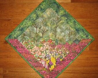 "Wispy Trees Diagonal Art Quilt Wall Hanging, Textile Art, Landscape Art Quilt, Office Decor 28"" wide cotton fabrics"