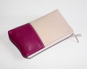 Small Leather Pouch. Leather Make-Up Bag. Leather Cosmetic Bag in Raspberry Pink and Light Pink