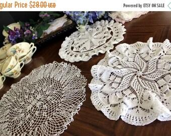 3 Assorted Crochet Doilies - Vintage Knit Doily, Whites Lot, Multiple Doilies 13535