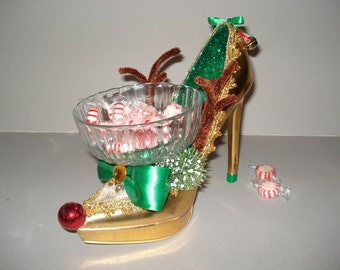 Reindeer holiday high heel candy dish