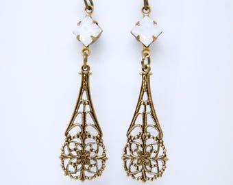 Long White Opal Earrings, Antique Brass Earrings, Art Deco Earrings, Filigree, Victorian Jewelry, October Birthstone Gift, Bridal Jewelry