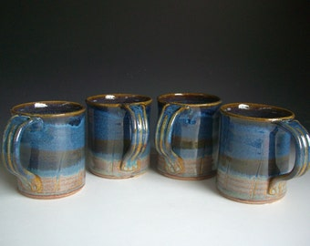Hand thrown stoneware pottery mugs set of 4  (M-21)