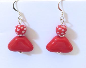Kazuri Earrings, Red and White Spotted Ceramic Earrings