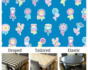 Laminated cotton aka oilcloth tablecloth custom size and fit choose elastic, tailored or draped Erin McMorris Flowerpop lake blue