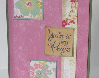 You're In My Prayers Christian Praying For You Card In Pink With Flowers