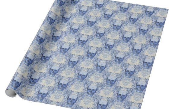 Blue Willow Skull Glossy Wrapping Paper