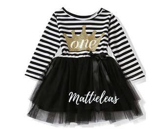 Girls 1st Birthday Girl Outfit, Black Crown Queen   One Year Old Girl Birthday Outfit, FREE SHIPPING