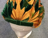 Leaf Hat Velvet Leaves Green Gold Bow